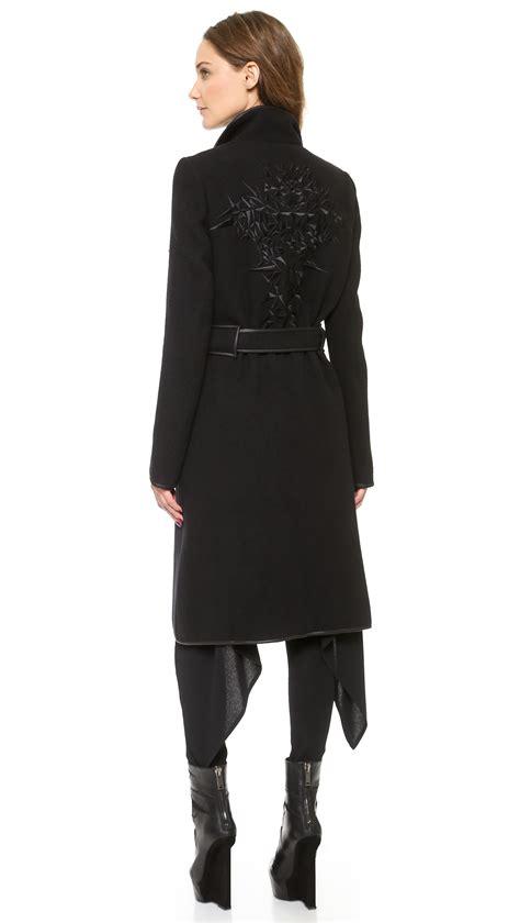 Black Back Embroidered Coat gareth pugh coat with embroidered back black in black lyst