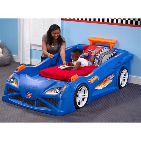 racecar bed jet com step2 hot wheels toddler to twin race car bed blue