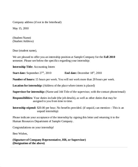 College Internship Letter Format Sle Internship Acceptance Letter 6 Documents In Pdf Word