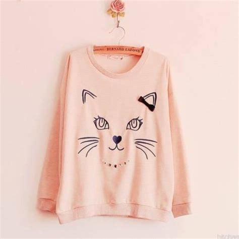 Kawai Sweater Pink sweater pink black oversized sweater hanger cats cats drawing kawaii cats sweet