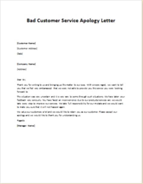 Apology Letter Regarding Service Bad Customer Service Apology Letter Writeletter2
