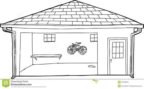 garage cartoon outline of bike in garage stock illustration illustration