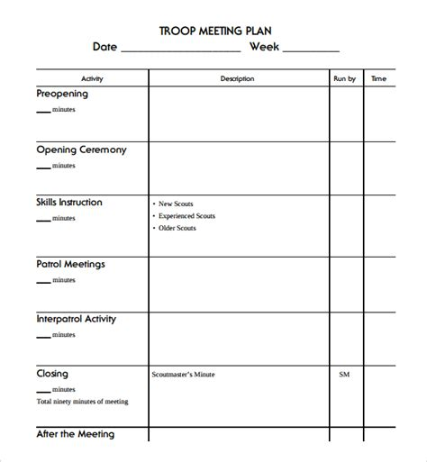 meeting planner template sle meeting planning template 9 free documents