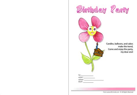 printable birthday invitation cards with photo printable birthday invitations birthday party invitations