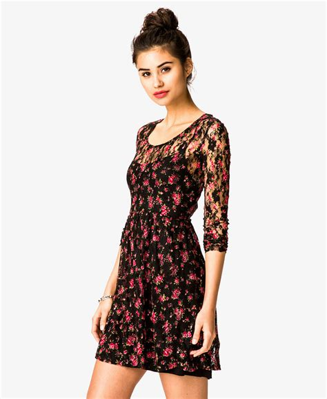 Forever21 Lace Dress lyst forever 21 floral print lace dress in black