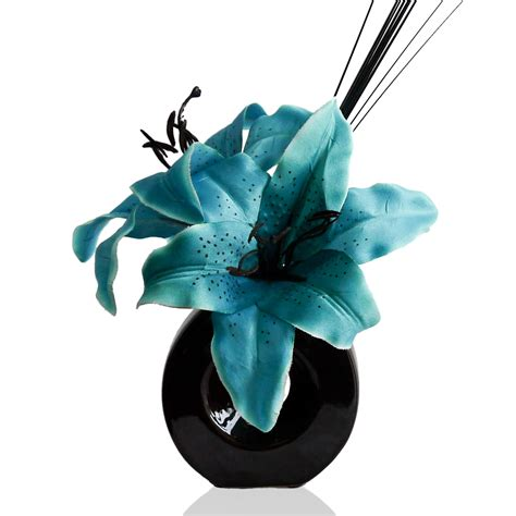 Teal Vase Filler by Teal Blue Silk Artificial Flower Arrangement In Vase