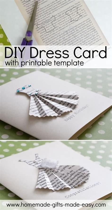 Book Print Dress Card Template Homemade Gift Ideas Blog Dress Card Diy Card Template