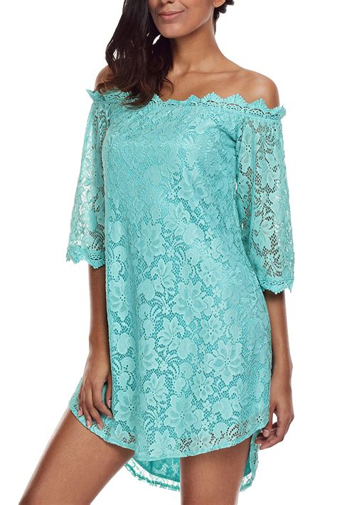 3 4 Sleeve Lace Dress mint the shoulder 3 4 sleeve floral lace dress