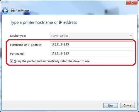 Printer Ip adding a printer to windows by ip address advancement intranet