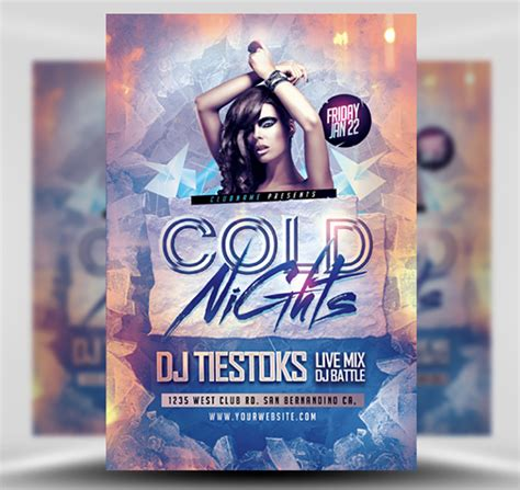 Cold Nights Winter Party Flyer Template Flyerheroes Winter Flyer Template