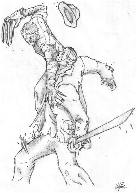 Freddy Vs Jason Coloring Pages freddy vs jason free coloring pages
