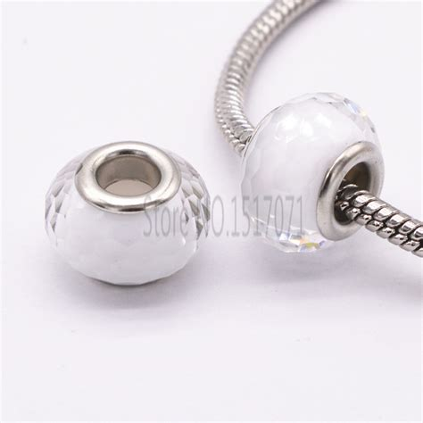 high quality silver plated diy 14mm white murano glass fit pandora bracelet charms for