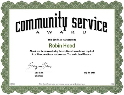 community service hours certificate template search results for participation certificate template