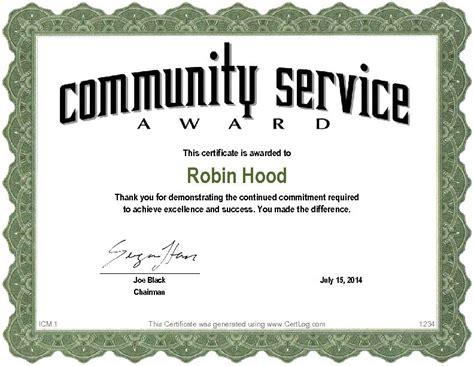 community service hours certificate template certlog
