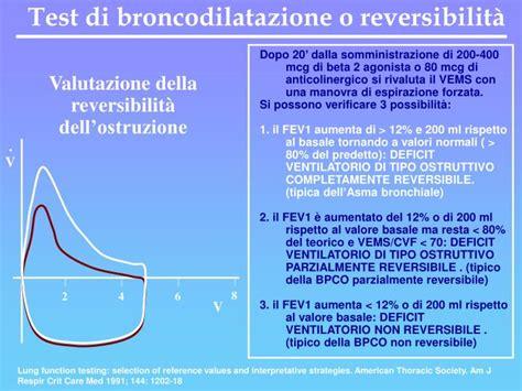 test broncodilatazione ppt corso integrato di malattie dell apparato