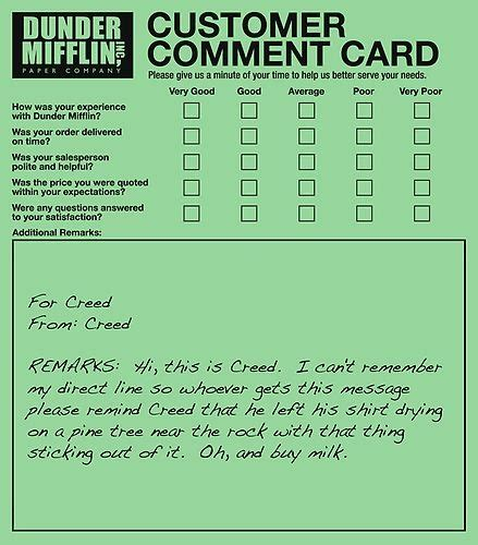 comment card template for office creed bratton the office theoffice dunder mifflin
