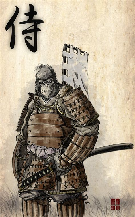 gorilla samurai by ittoogamy on deviantart