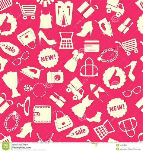 seamless pattern with shopping icons background with colorful shopping icons stock vector