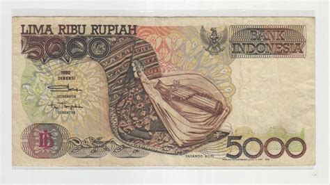 jual uang kertas lawas  lima ribu rupiah sasando
