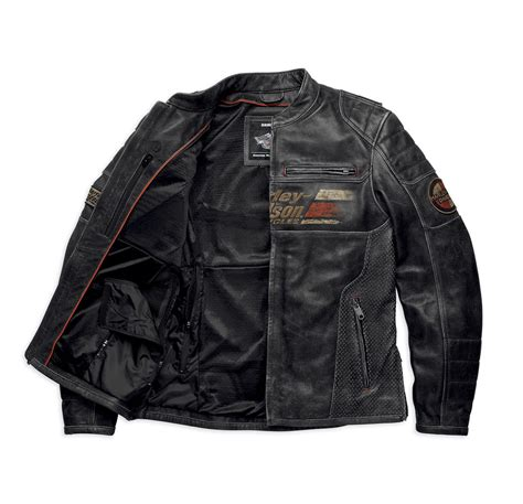 Harley Davidson Mens Astor Distressed Leather Riding Jacket