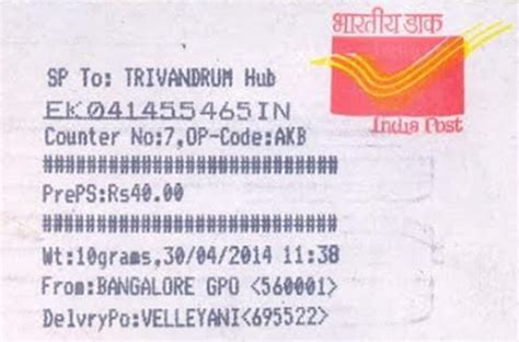 Tracking Of Speed Post Letter In India speed post tracking