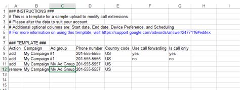 Finally Bulk Upload Support For Adwords Call Extensions Adwords Editor Upload Template