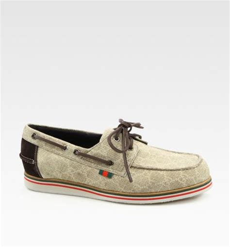 boat shoes gucci gucci limerick boat shoe in beige for men cocoa lyst