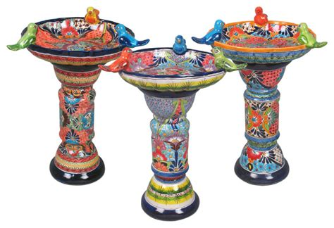 talavera ceramic birdbaths eclectic bird baths