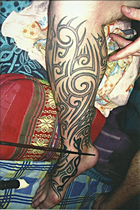 full leg tribal design big magic tattoo koh phangan