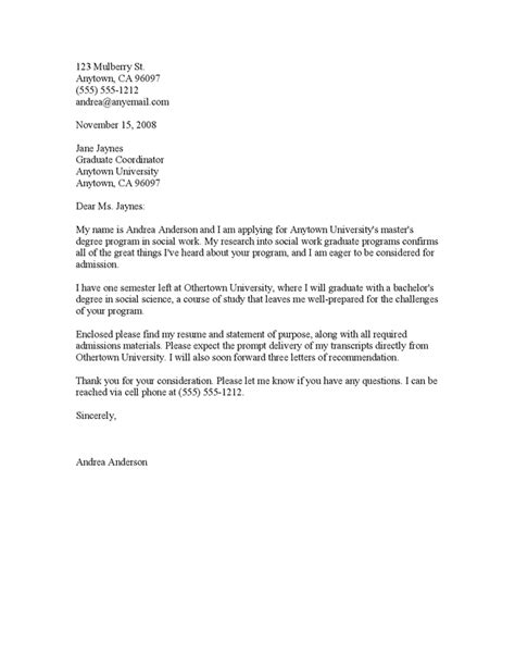 Cover Letter For Grad School by Application Letter Sle Application Letter Sle Graduate School