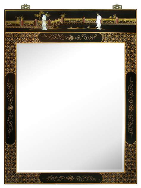black mirror japanese hand painted black lacquer mirror asian wall mirrors