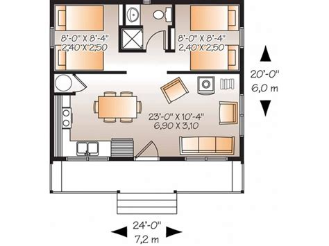 Two Bedroom House Plans by Eplans Country House Plan Two Bedroom Country 480