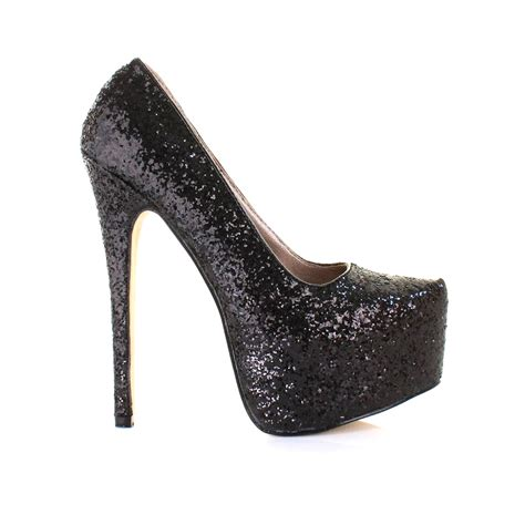 womens silver black glitter high heel