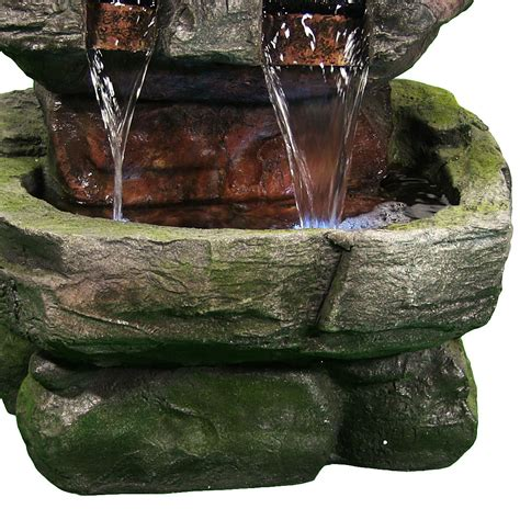 outdoor water fountains with led lights outdoor tiered waterfall electric feature