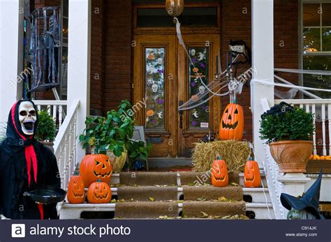 homes decorated for halloween house decorated for halloween montreal canada stock photo