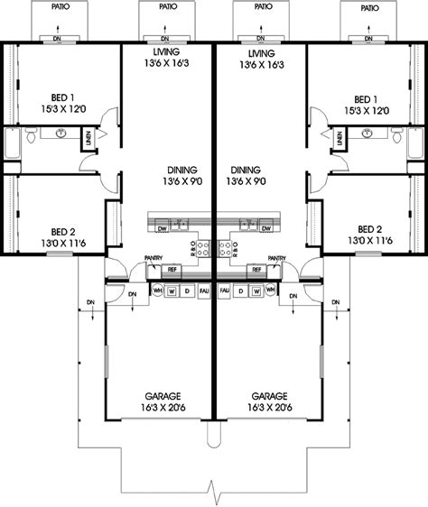 ranch duplex floor plans tree hill ranch duplex design plan 085d 0736 house plans