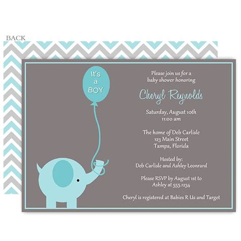 Where To Hold A Baby Shower by Elephant Balloon Blue Baby Shower Invitation Elephant