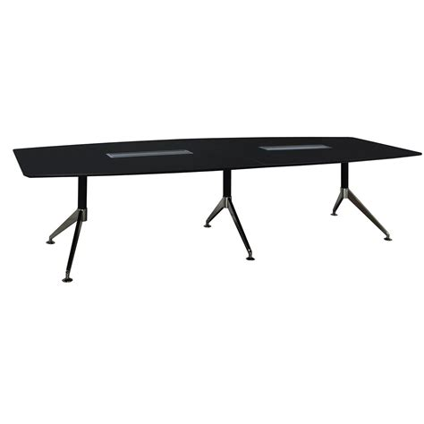 Black Conference Table 12 Foot Melamine Boat Shaped Conference Table Black National Office Interiors And