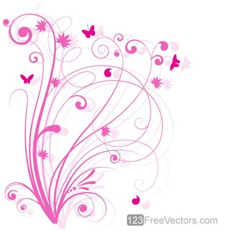 design free vector floral design 5 pink floral background by