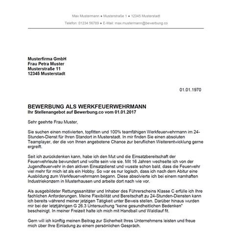 Bewerbung Anrede Mann Und Frau Bewerbung Als Werkfeuerwehrmann Werkfeuerwehrfrau