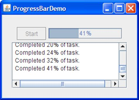 progress bar in swing how to use progress bars the java tutorials gt creating a