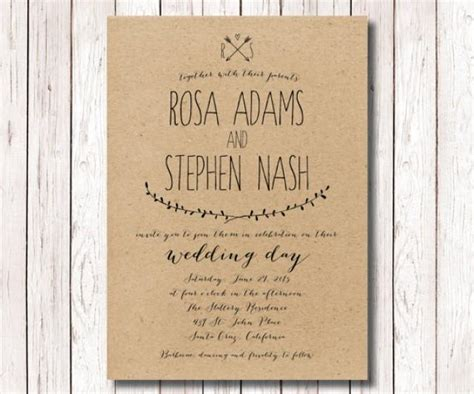 printable paper invitations rustic wedding invitation kraft paper invitation