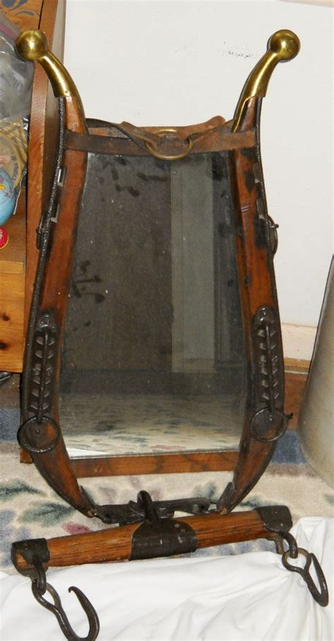 brass tipped horse harness hames  mirror