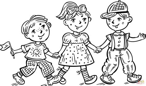 children boys and a girl celebrating coloring page free