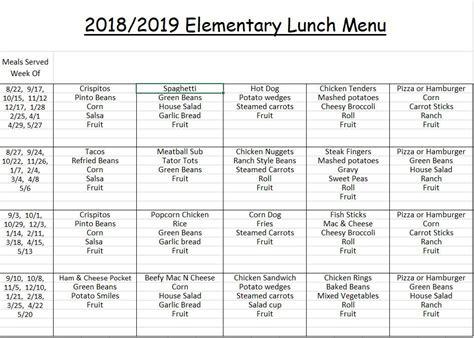 child nutrition menus