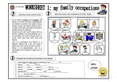 free printable english worksheets occupations my family occupation worksheet free esl printable