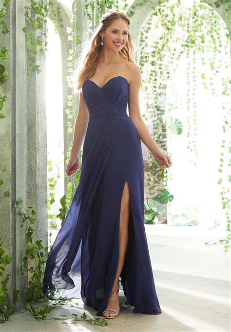 Bridesmaid Dresses With Slits Up The Leg - chiffon bridesmaids dress with draped bodice and keyhole