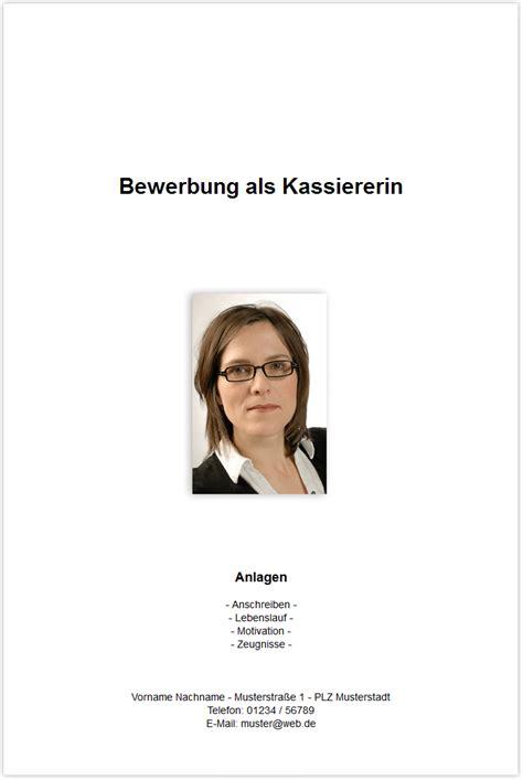 Kassierer Bewerbung Bewerbungsdeckblatt Kassiererin Kassierer