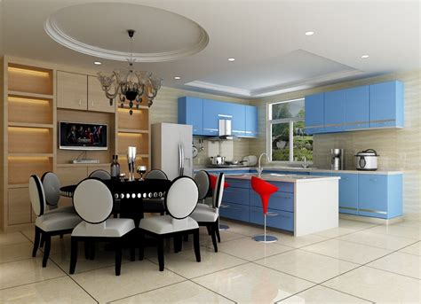 kitchen dining room interior design with blue hutch ark