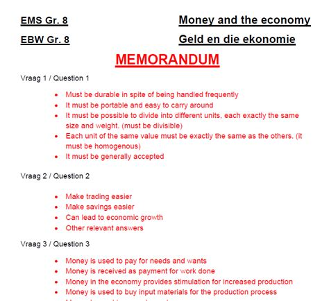 Gr 8 Ems Money And The Economy Worksheet Class Test
